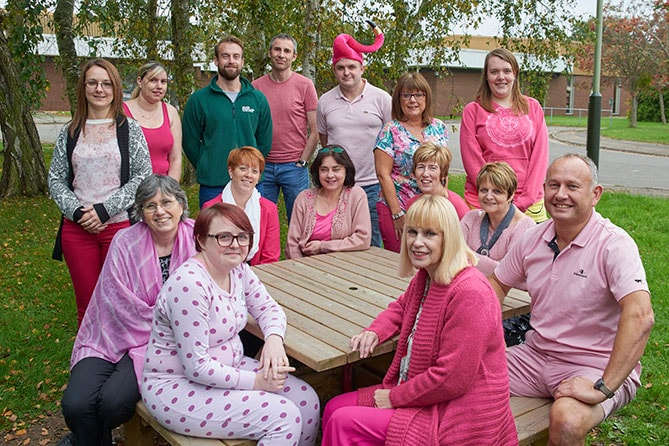 Anglian's transport dept. in pink for Breast Cancer Awareness.