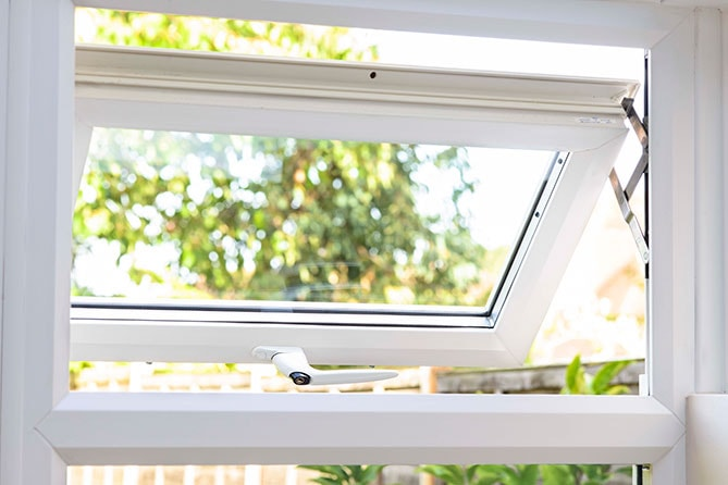White uPVC Casement window open ajar