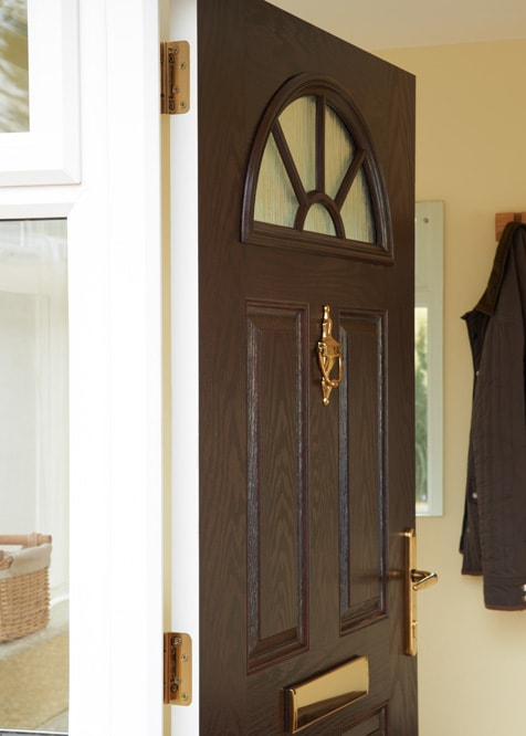 \u0027Canterbury\u0027 GRP door in dark woodgrai · \u0027 & Composite GRP doors gallery - ideas \u0026 inspiration   Anglian Home