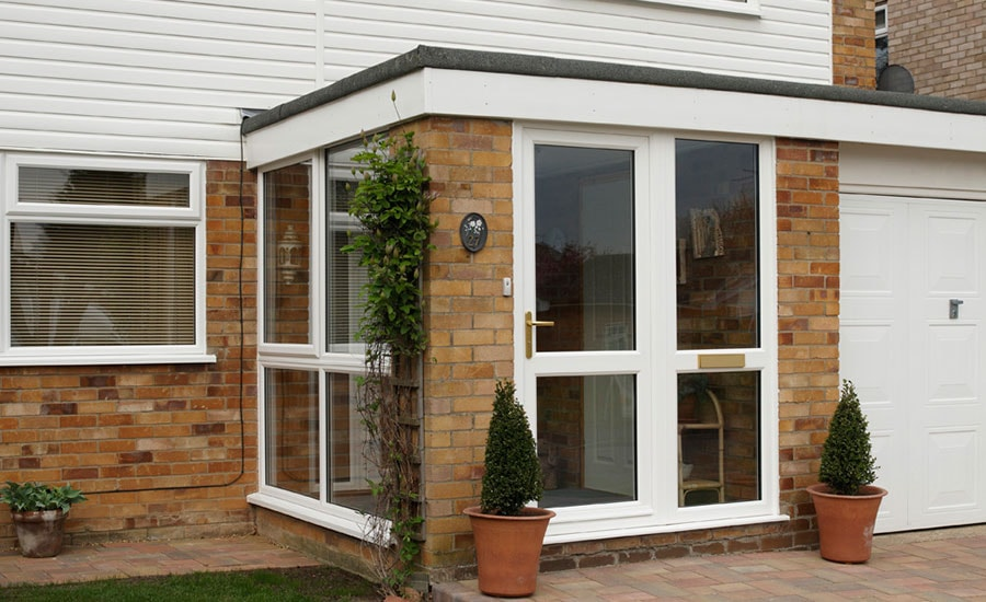 Anglian porch in White Knight uPVC