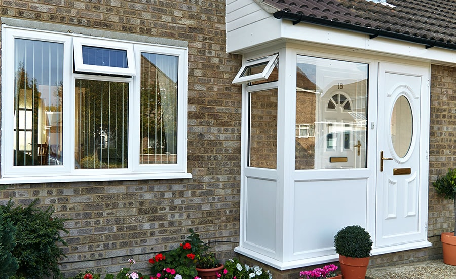 Porches upvc wooden aluminium porches anglian home for Double glazed porch doors