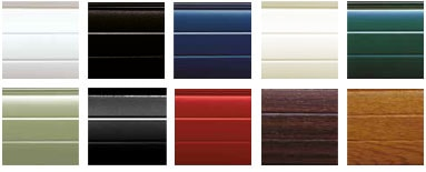 The colours available for an Anglian roller door