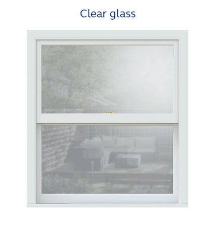 Sash window clear glass