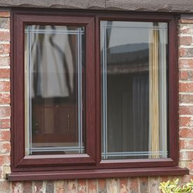 Casement window with clear decorative glass