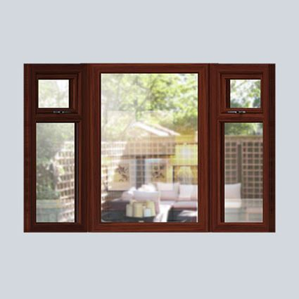 Dark Woodgrain wooden bay window