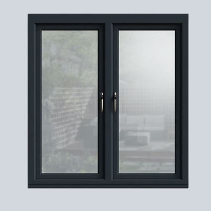 Interior view of a wooden casement window in Anthracite Grey