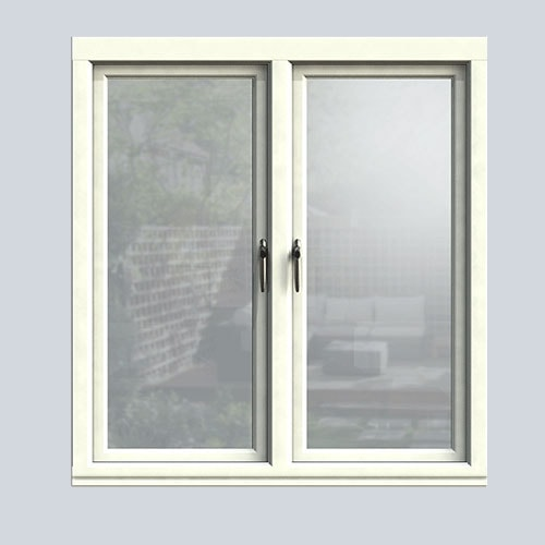 Interior view of a White wooden casement window