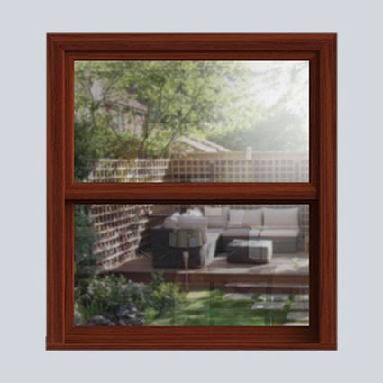Dark Woodgrain uPVC sash window