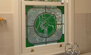 coloured glass white upvc sash window