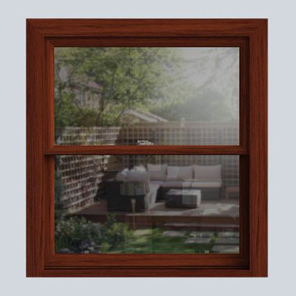 Dark Woodgrain wooden sash window